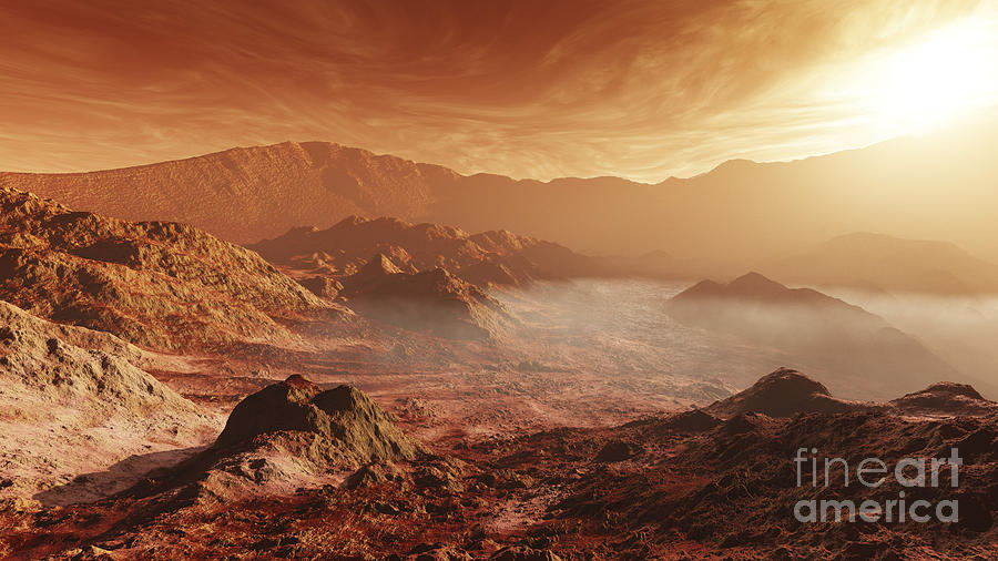 The Martian Sun Sets Over The High Digital Art