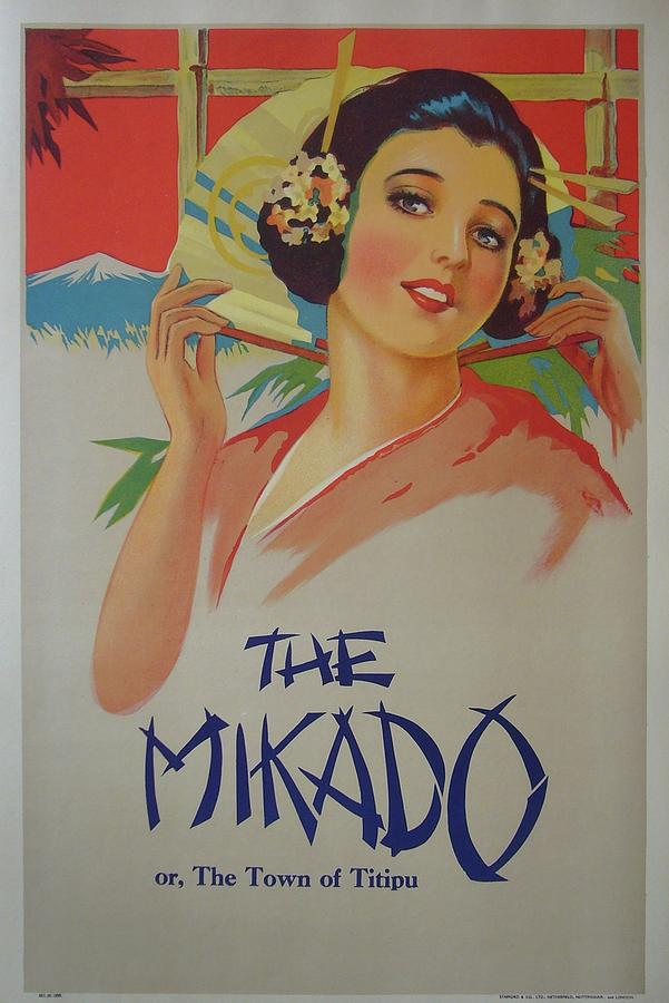 The mikado vintage gilbert and sullivan poster painting