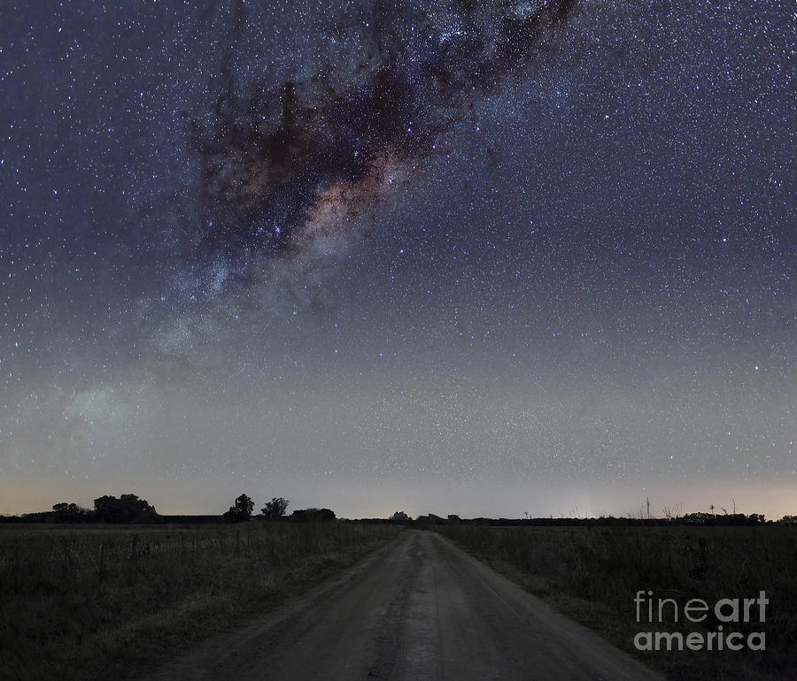 The Milky Way Galaxy Over A Rural Road Photograph
