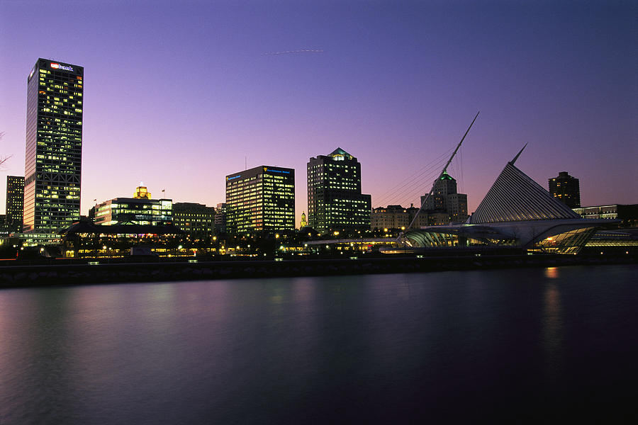 The Milwaukee Skyline At Twilight Photograph  - The Milwaukee Skyline At Twilight Fine Art Print