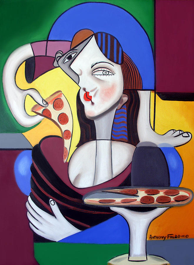 The Mona Pizza Painting  - The Mona Pizza Fine Art Print