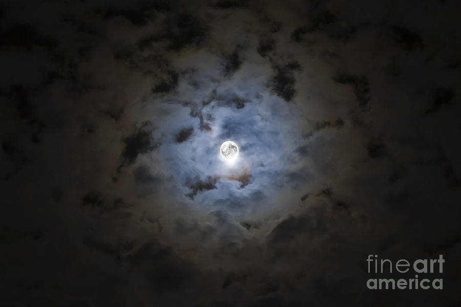 The Moon Covered By A Layer Of Clouds Photograph