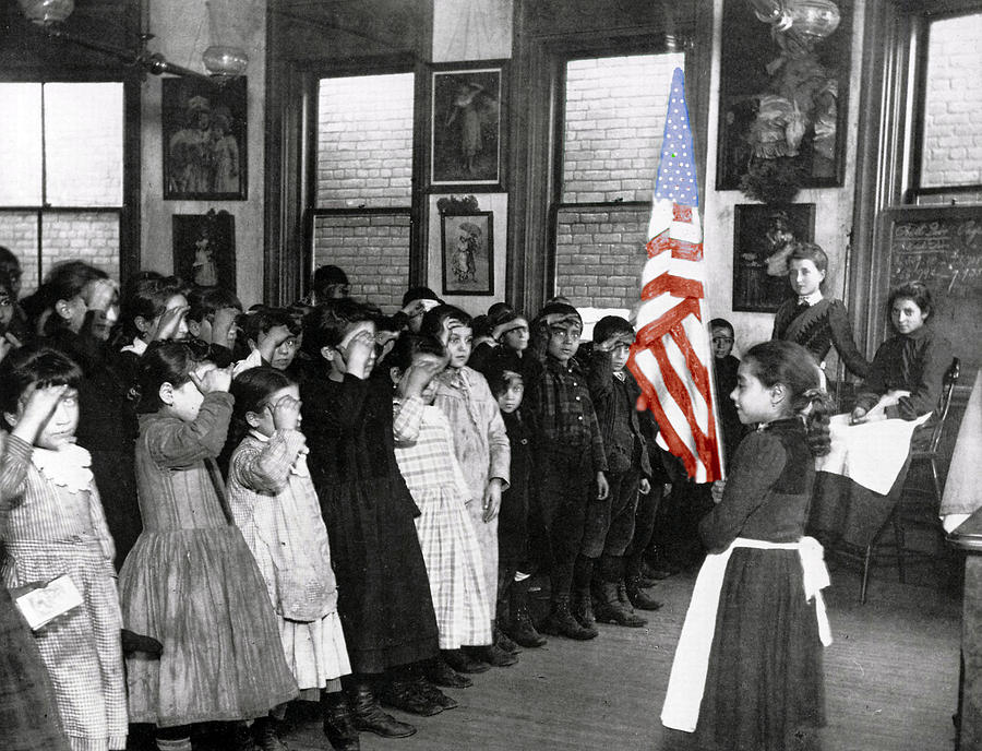 Flag Parade Morning Greeting American Pride Proud Pupil Students Teacher Girl Photograph - The Morning Parade 1898 by Stefan Kuhn