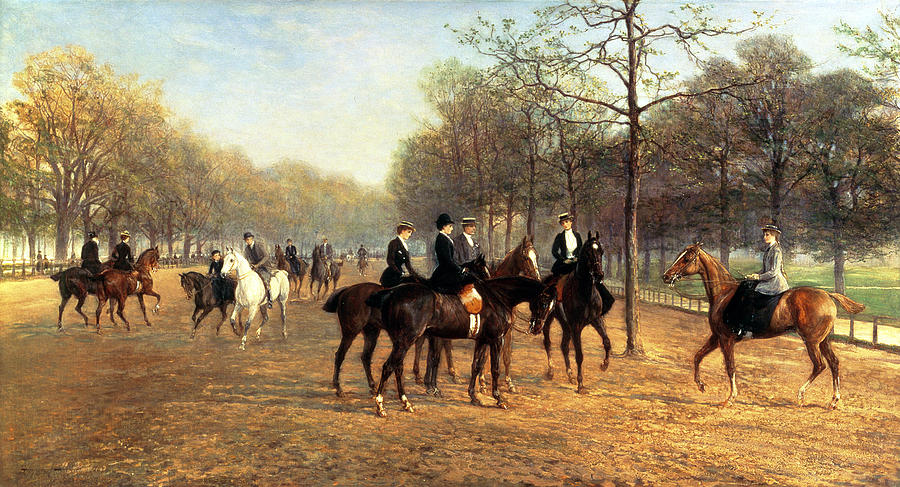 The Morning Ride Rotten Row Hyde Park Painting  - The Morning Ride Rotten Row Hyde Park Fine Art Print