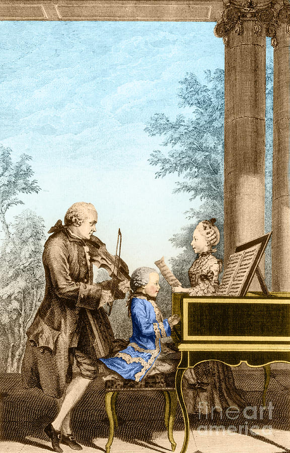 The Mozart Family On Tour, 1763 Photograph  - The Mozart Family On Tour, 1763 Fine Art Print