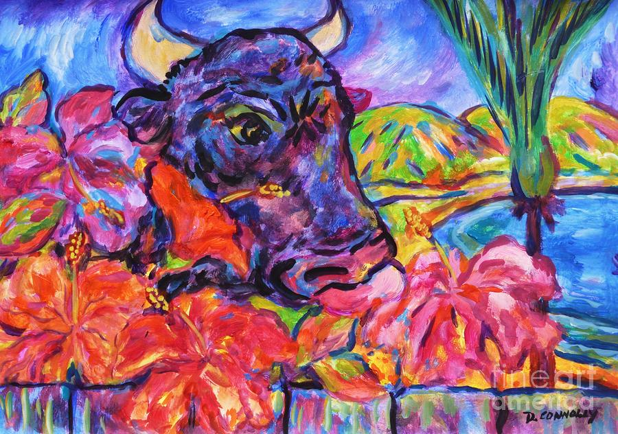 The Neighbours Nosey Bull Painting  - The Neighbours Nosey Bull Fine Art Print
