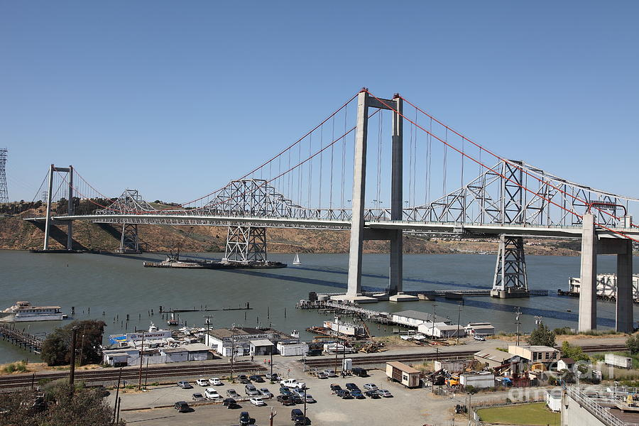 The New Alfred Zampa Memorial Bridge And The Old Carquinez Bridge . 5d16798 Photograph