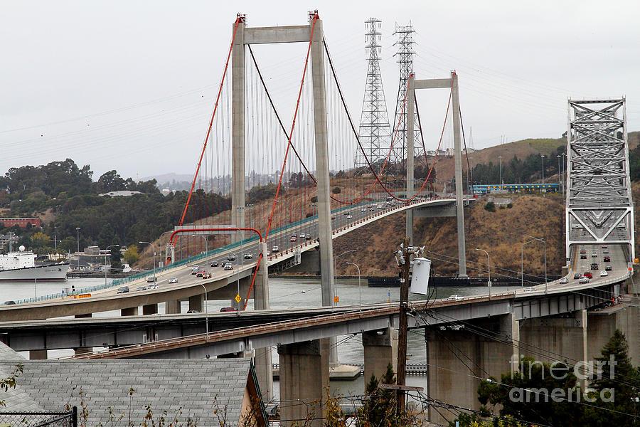 The New Alfred Zampa Memorial Bridge And The Old Carquinez Bridge . 7d8915 Photograph