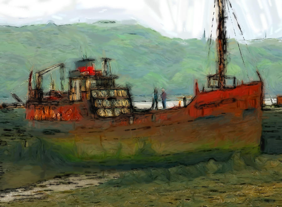 The Old Fishing Trawler Pastel