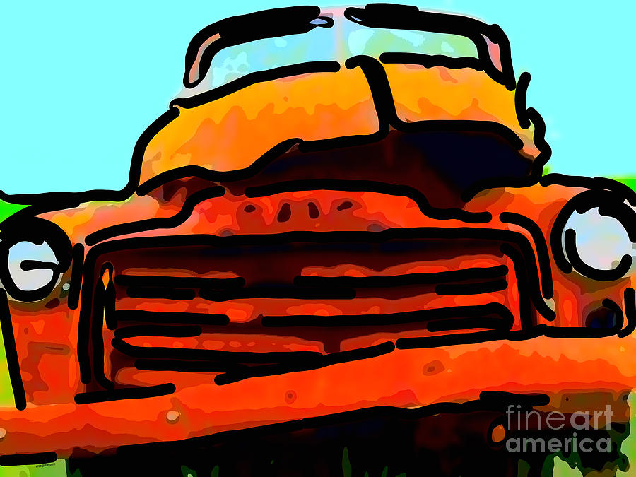 The Old Jalopy . 7d8396 . Color Sketch Style Photograph  - The Old Jalopy . 7d8396 . Color Sketch Style Fine Art Print