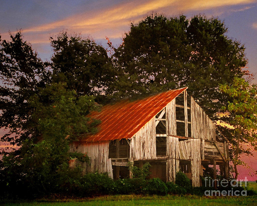 The Old Lowdermilk Barn - Red Roof Barn Rustic Country Rural Antique Photograph