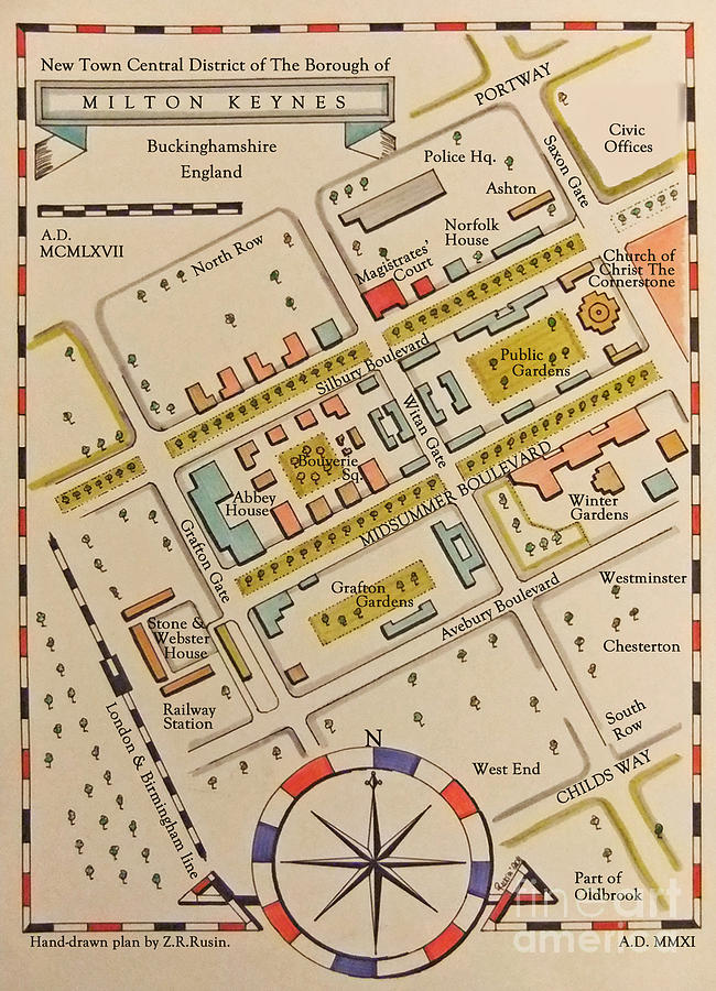 The Old Map Of New Town Drawing