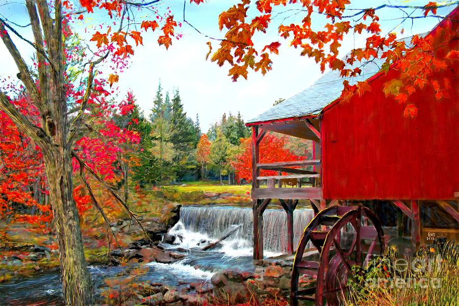 The Old Mill In Weston Vermont Painting