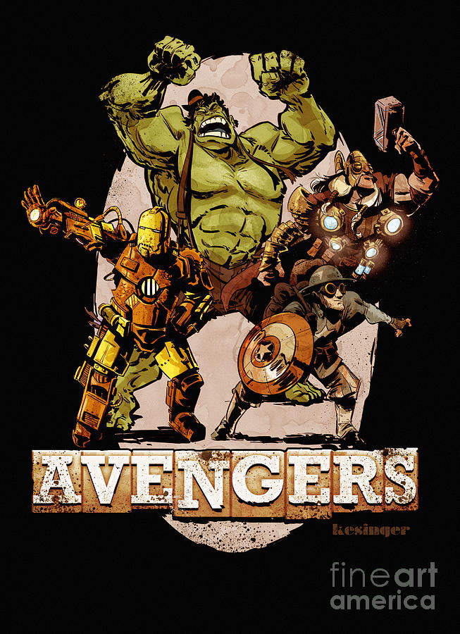The Old Time-y Avengers Digital Art  - The Old Time-y Avengers Fine Art Print