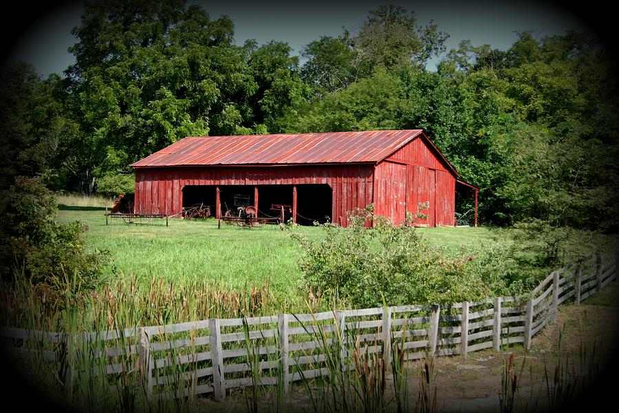 Metal Tractor Barns : The old tractor shed in vignette photograph by david dunham