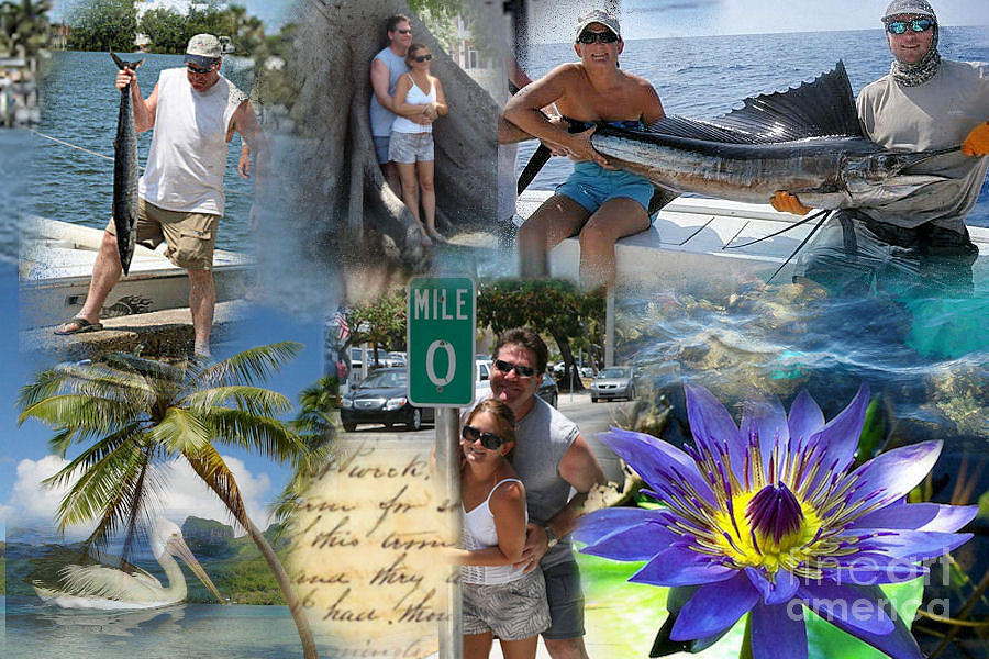 Art;digital Collage;fish;blue;key West;florida;pelican;flower;ocean Mixed Media - The Ones We Caught by Ruby Cross