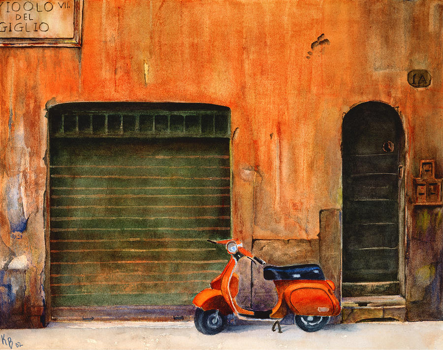 The Orange Vespa Painting  - The Orange Vespa Fine Art Print