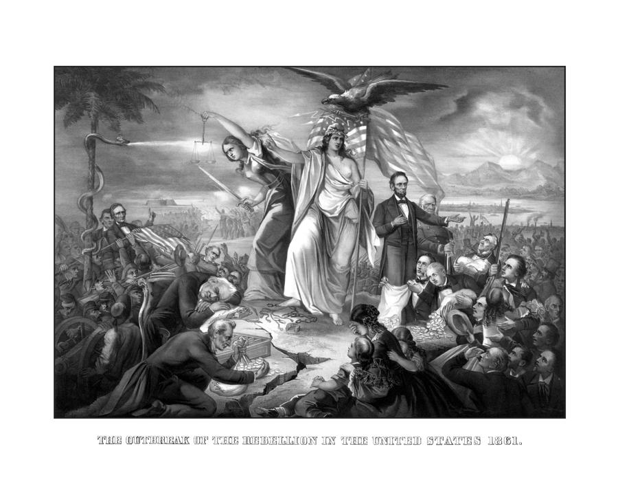 The Outbreak Of The Rebellion In The United States Drawing