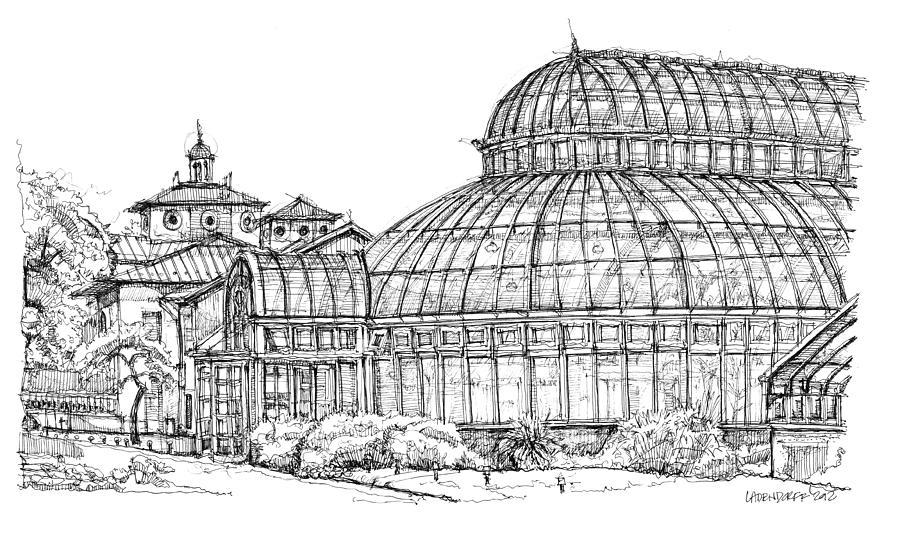 The Palm House In Brooklyn  Drawing  - The Palm House In Brooklyn  Fine Art Print