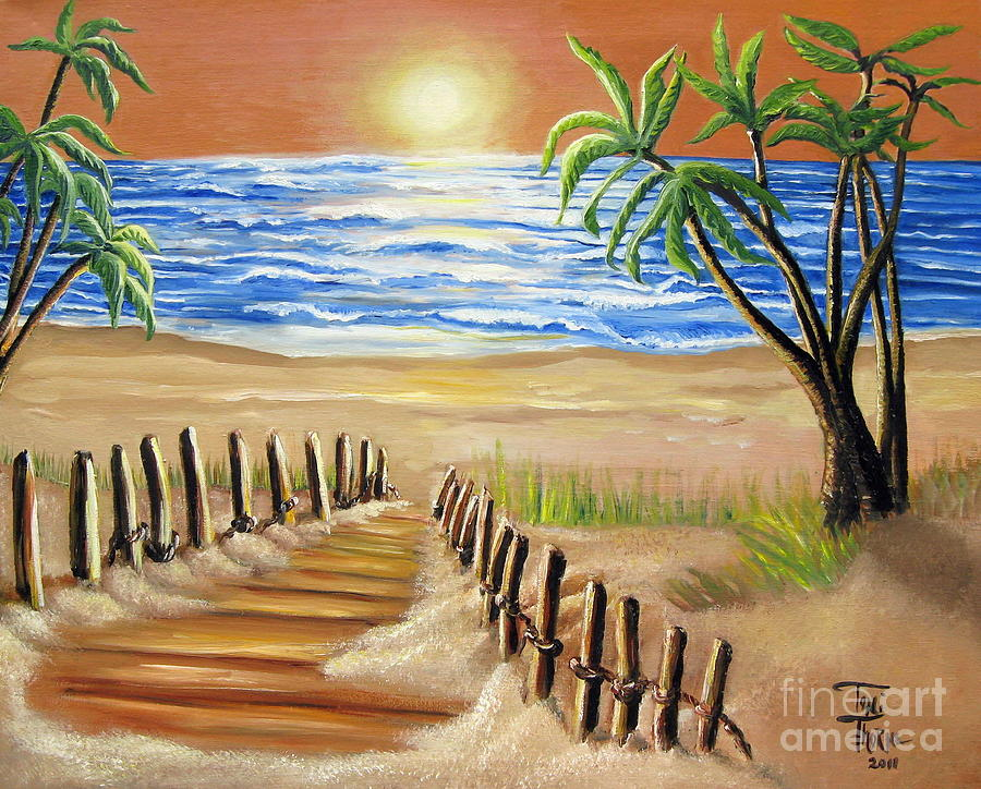 The palm tree beach by toni thorne for Palm tree painting