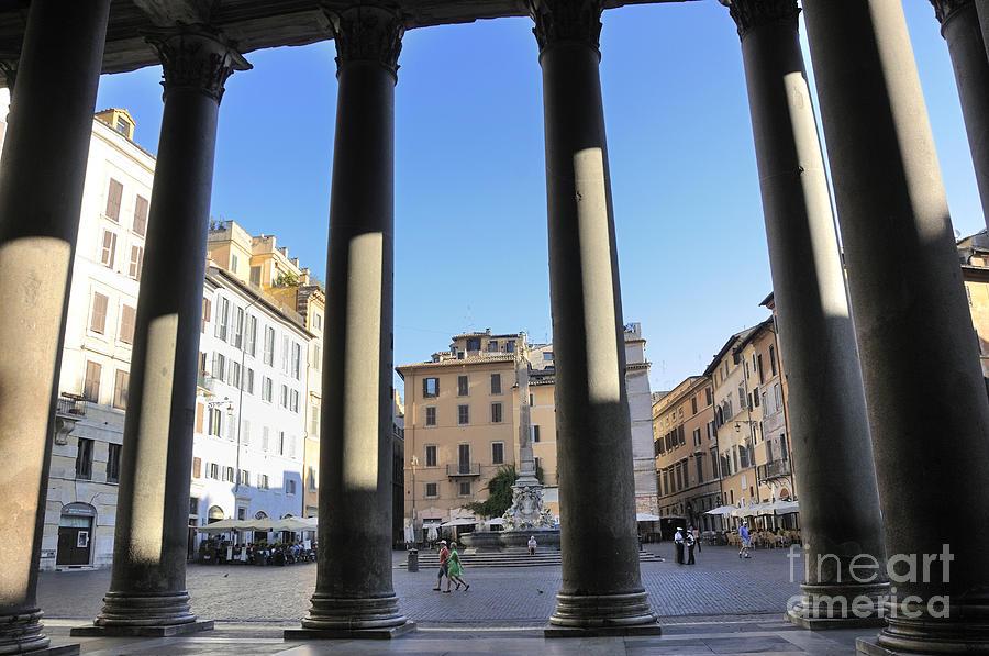 Architecture Photograph - The Pantheon . Piazza Della Rotonda. Rome by Bernard Jaubert