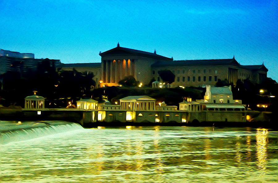 The Philadelphia Art Museum And Waterworks At Night Photograph
