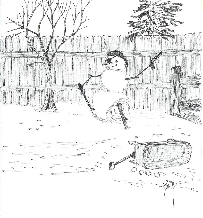 Snowman Drawing - The Pirate In My Backyard - Sketch by Robert Meszaros
