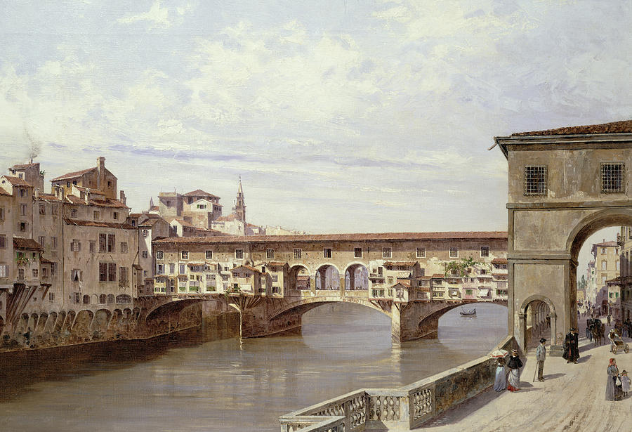 The Pontevecchio - Florence  Painting  - The Pontevecchio - Florence  Fine Art Print