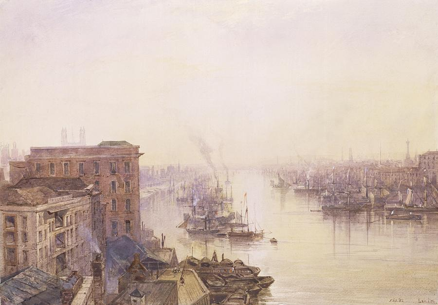 Sailboat Painting - The Pool From The Adelaide Hotel London Bridge by William Wyld