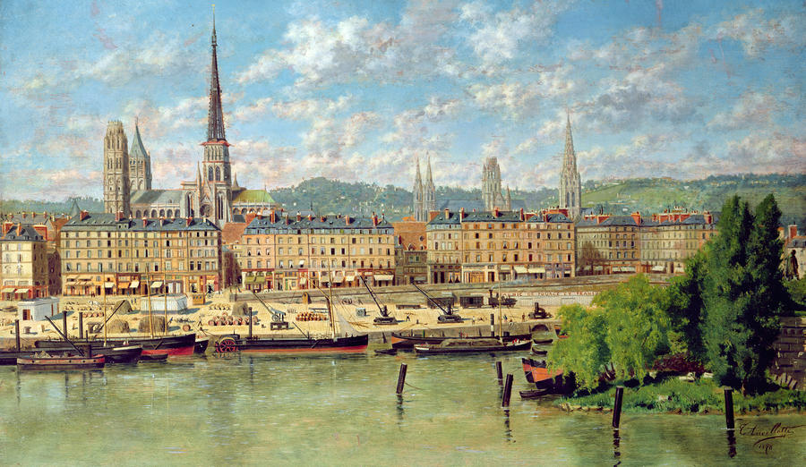The Port At Rouen Painting
