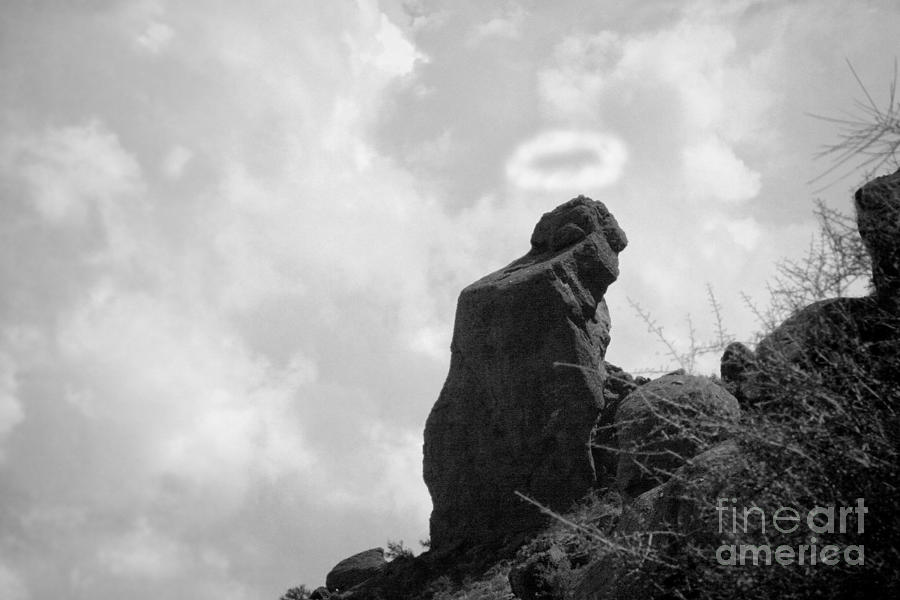 The Praying Monk With Halo - Camelback Mountain Bw Photograph  - The Praying Monk With Halo - Camelback Mountain Bw Fine Art Print