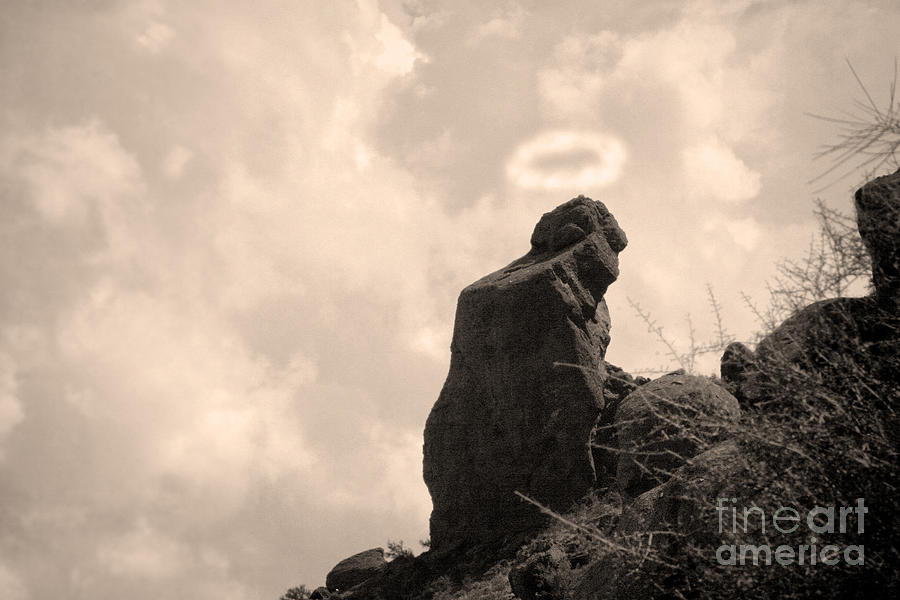 The Praying Monk With Halo - Camelback Mountain Photograph