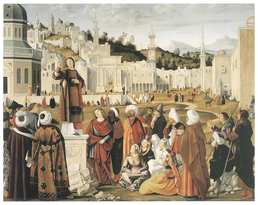 Vittore Carpaccio Painting - The Preaching Of Saint Stephen In Jerusalem by Vittore Carpaccio