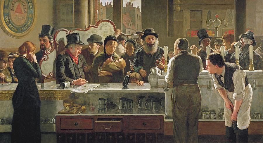 Drinking;drink;social;pub;landlord;barman;barmen Painting - The Public Bar by John Henry Henshall
