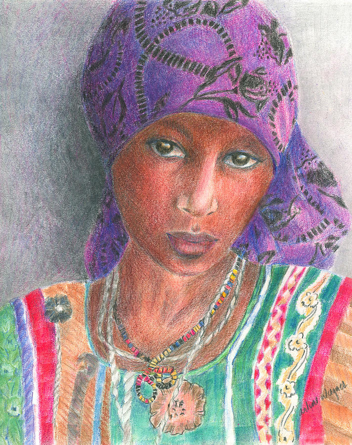 The Purple Scarf  Drawing  - The Purple Scarf  Fine Art Print