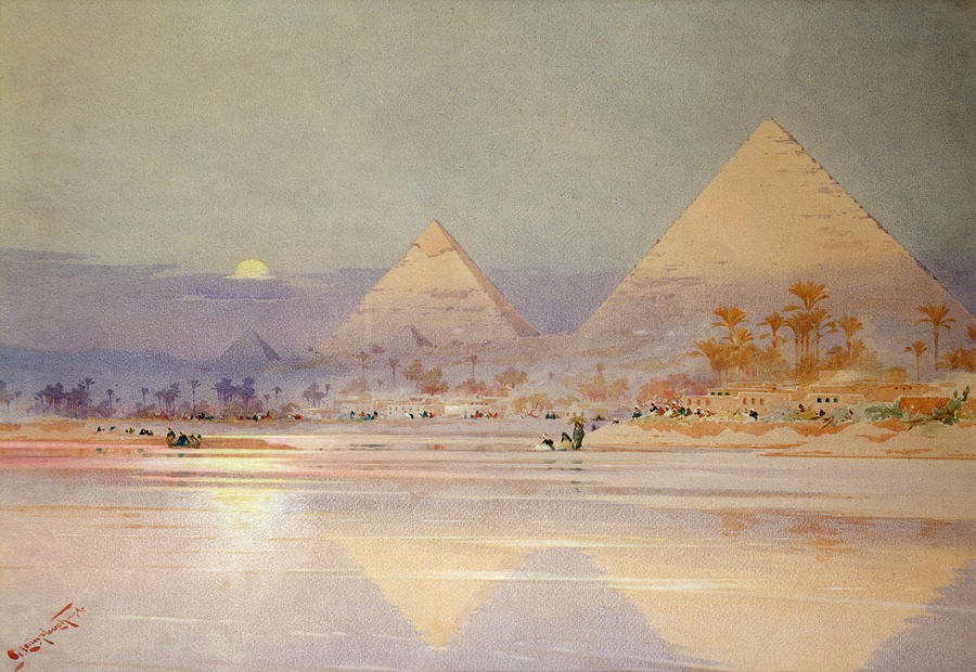 The Pyramids At Dusk Painting  - The Pyramids At Dusk Fine Art Print