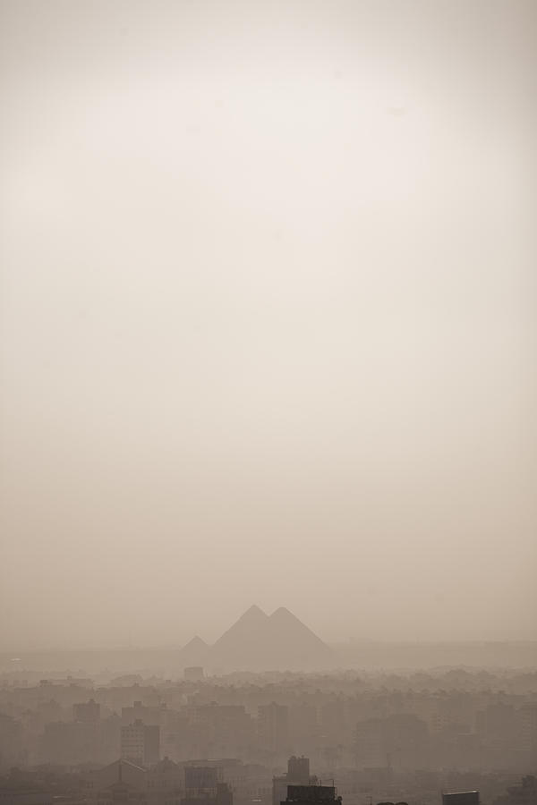 The Pyramids Rise Over The Smog Photograph  - The Pyramids Rise Over The Smog Fine Art Print