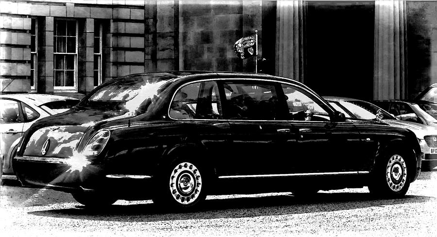 The Queen In Her Bentley Digital Art  - The Queen In Her Bentley Fine Art Print