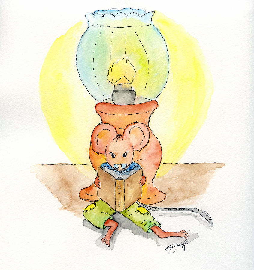 The Reading Mouse Painting  - The Reading Mouse Fine Art Print
