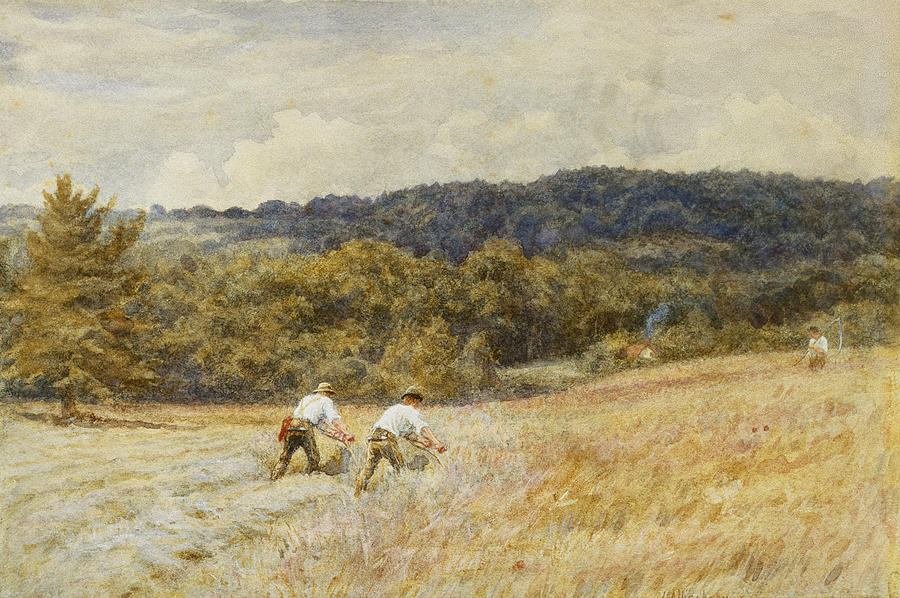 Reaper; Reaping; Farming; Agriculture; Agricultural; Harvest; Harvesting; Corn; C19th; C20th; Male; Worker; Workers; Farm;l Abourers; Working Painting - The Reapers by Helen Allingham