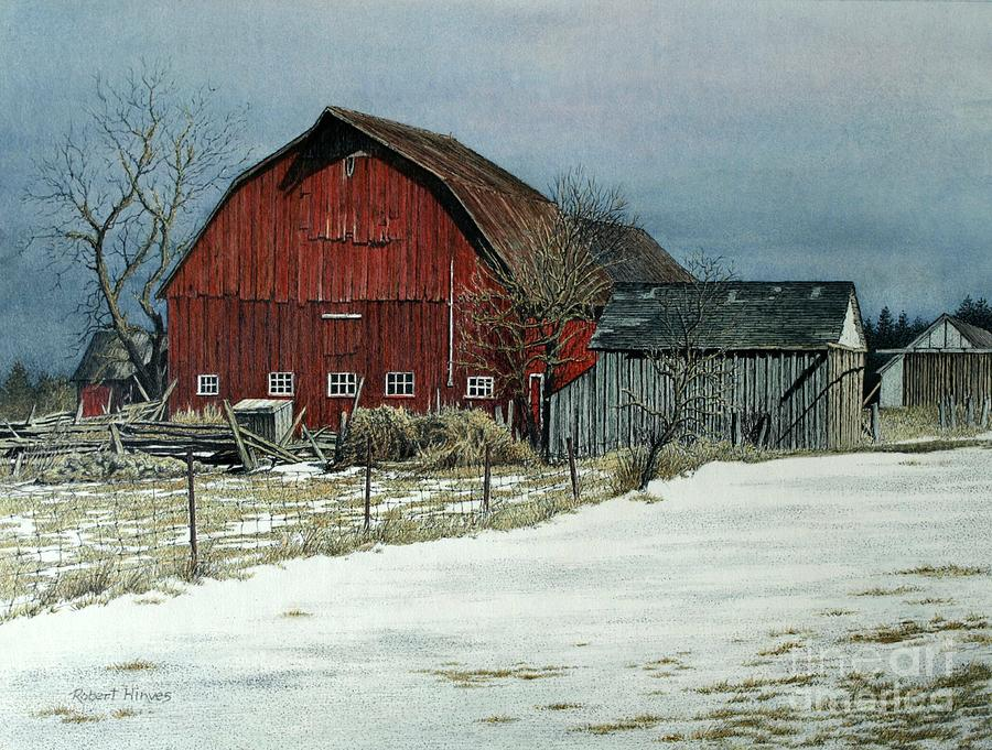 Barn Painting - The Red Barn by Robert Hinves