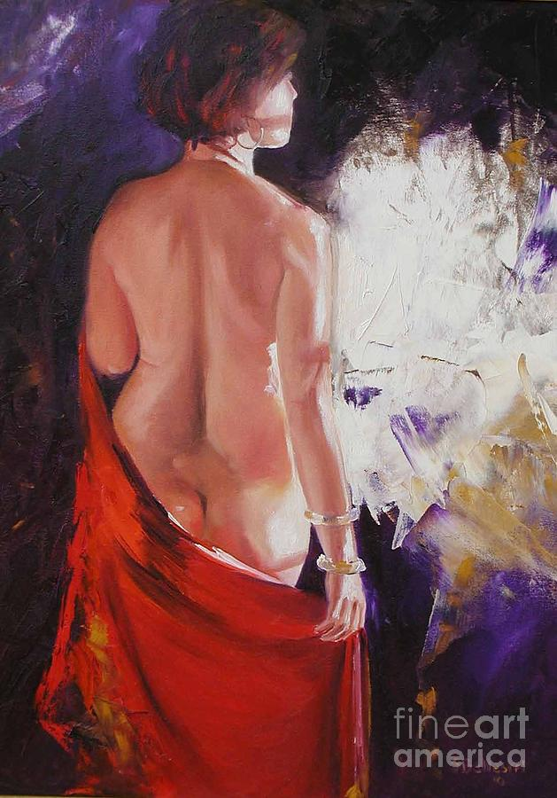 The Red Shawl Painting  - The Red Shawl Fine Art Print