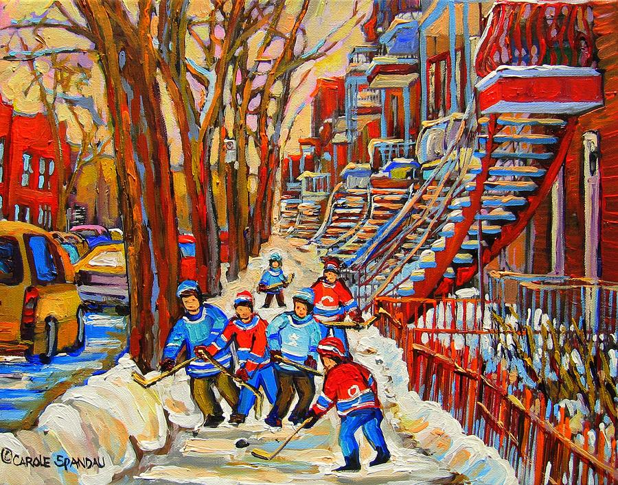 The Red Staircase Painting By Montreal Streetscene Artist Carole Spandau Painting  - The Red Staircase Painting By Montreal Streetscene Artist Carole Spandau Fine Art Print