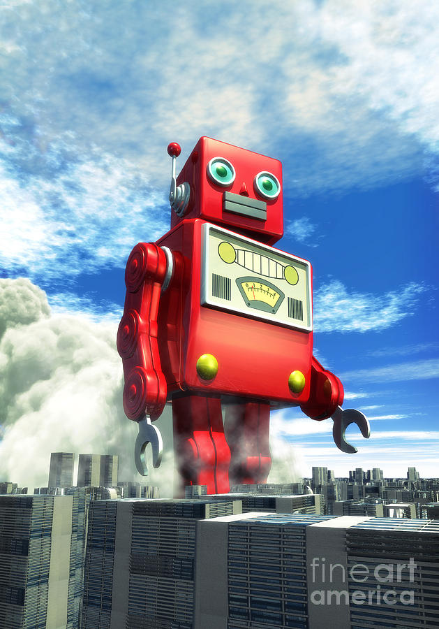 The Red Tin Robot And The City Digital Art  - The Red Tin Robot And The City Fine Art Print