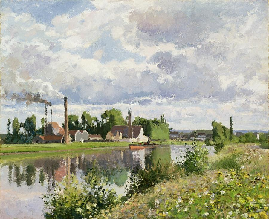 The River Oise Near Pontoise Painting  - The River Oise Near Pontoise Fine Art Print