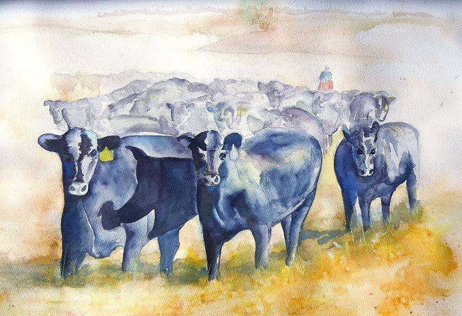 The Round Up Cattle Drive  Painting  - The Round Up Cattle Drive  Fine Art Print