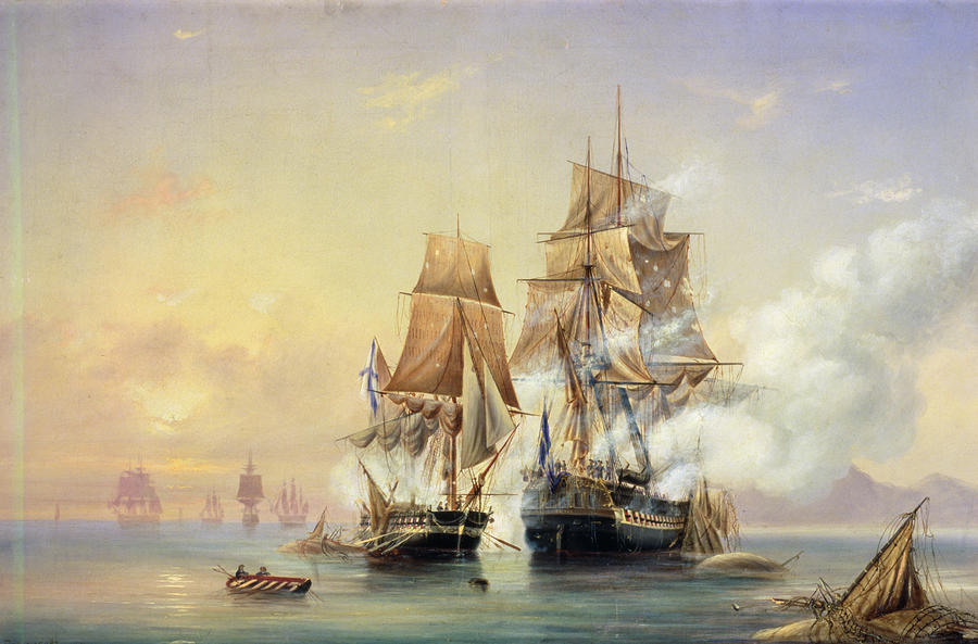 The Russian Cutter Mercury Captures The Swedish Frigate Venus On 21st May 1789 Painting  - The Russian Cutter Mercury Captures The Swedish Frigate Venus On 21st May 1789 Fine Art Print