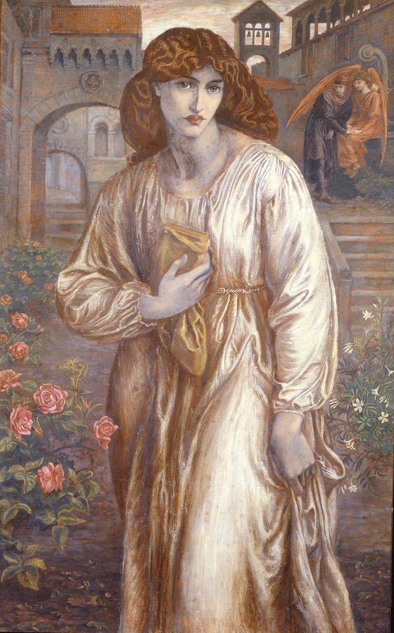 The Painting - The Salutation  by Dante Charles Gabriel Rossetti