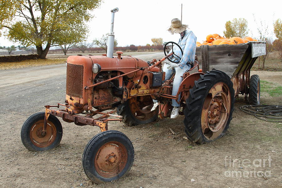 The Scarecrow Riding On The Old Farm Tractor . 7d10299 Photograph