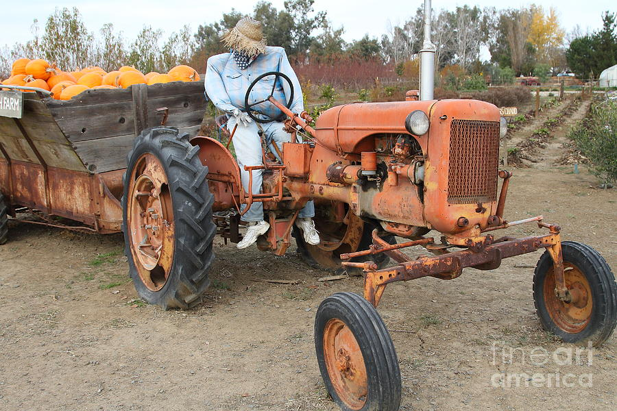 The Scarecrow Riding On The Old Farm Tractor . 7d10300 Photograph